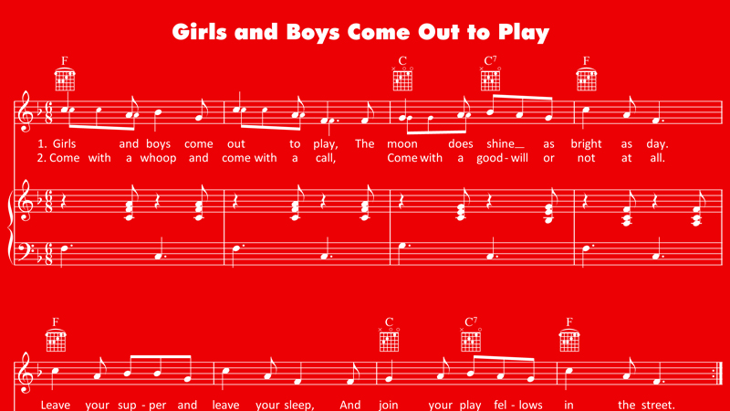 Image for Boys and Girls Come Out to Play – Sheet Music