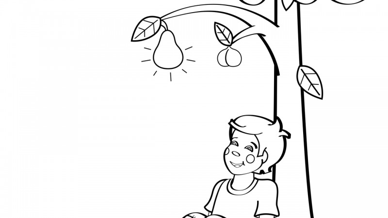 Image for I Had a Little Nut Tree – Coloring Page