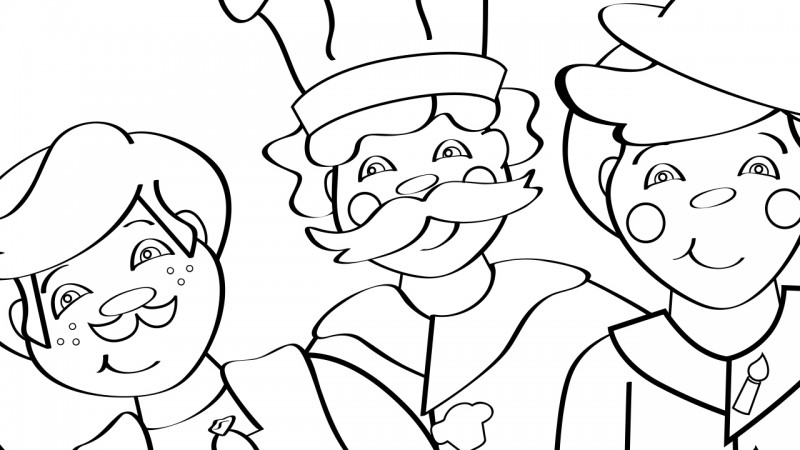 Image for Three Men in a Tub – Coloring Page