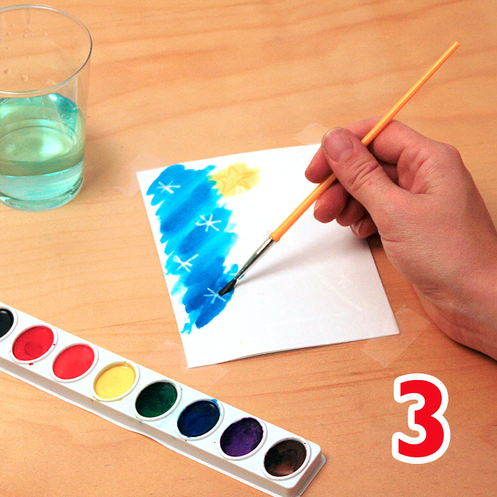 Watercolor holiday cards craft step 3