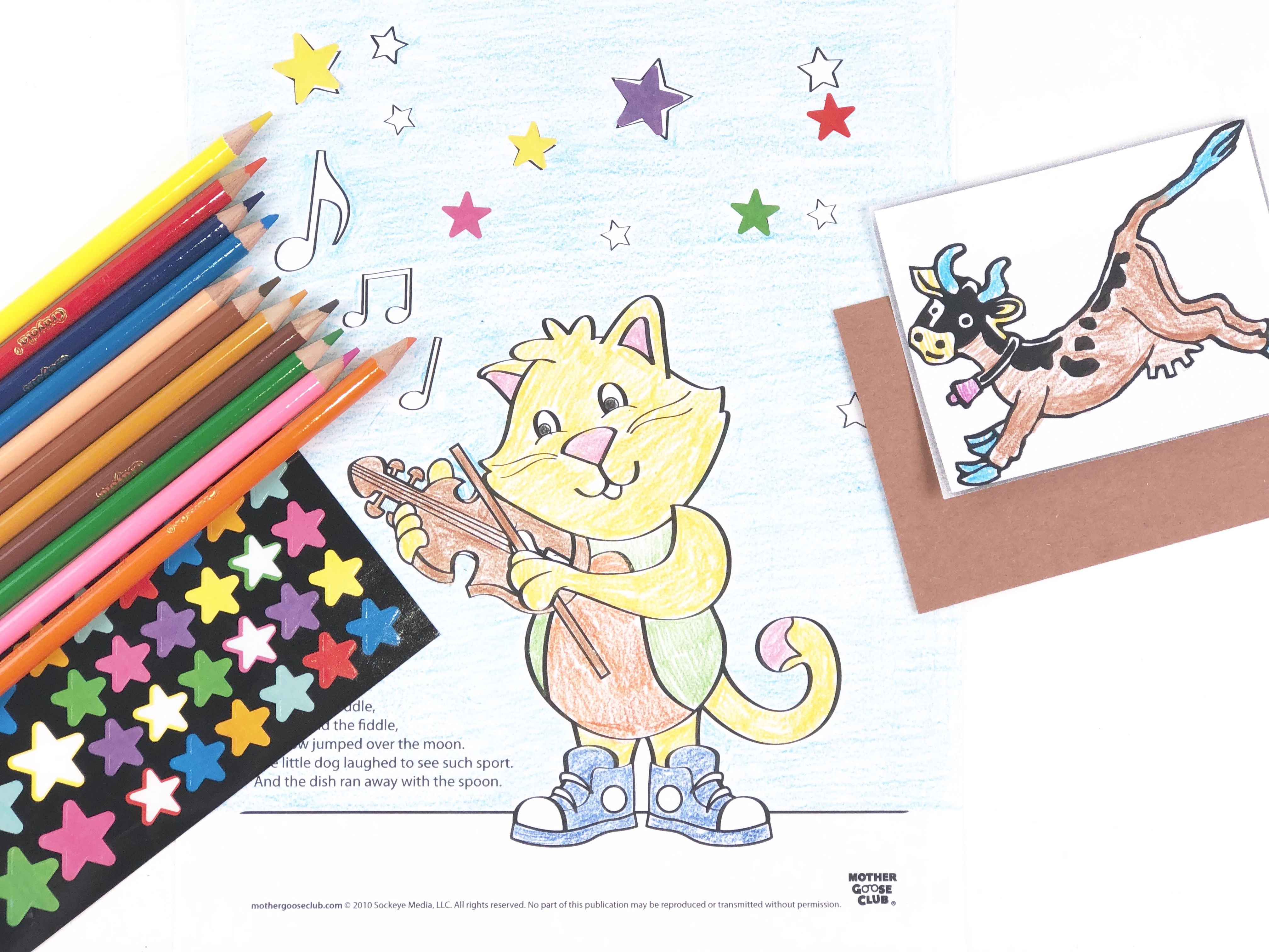 Hey Diddle Diddle Coloring Craft step 1