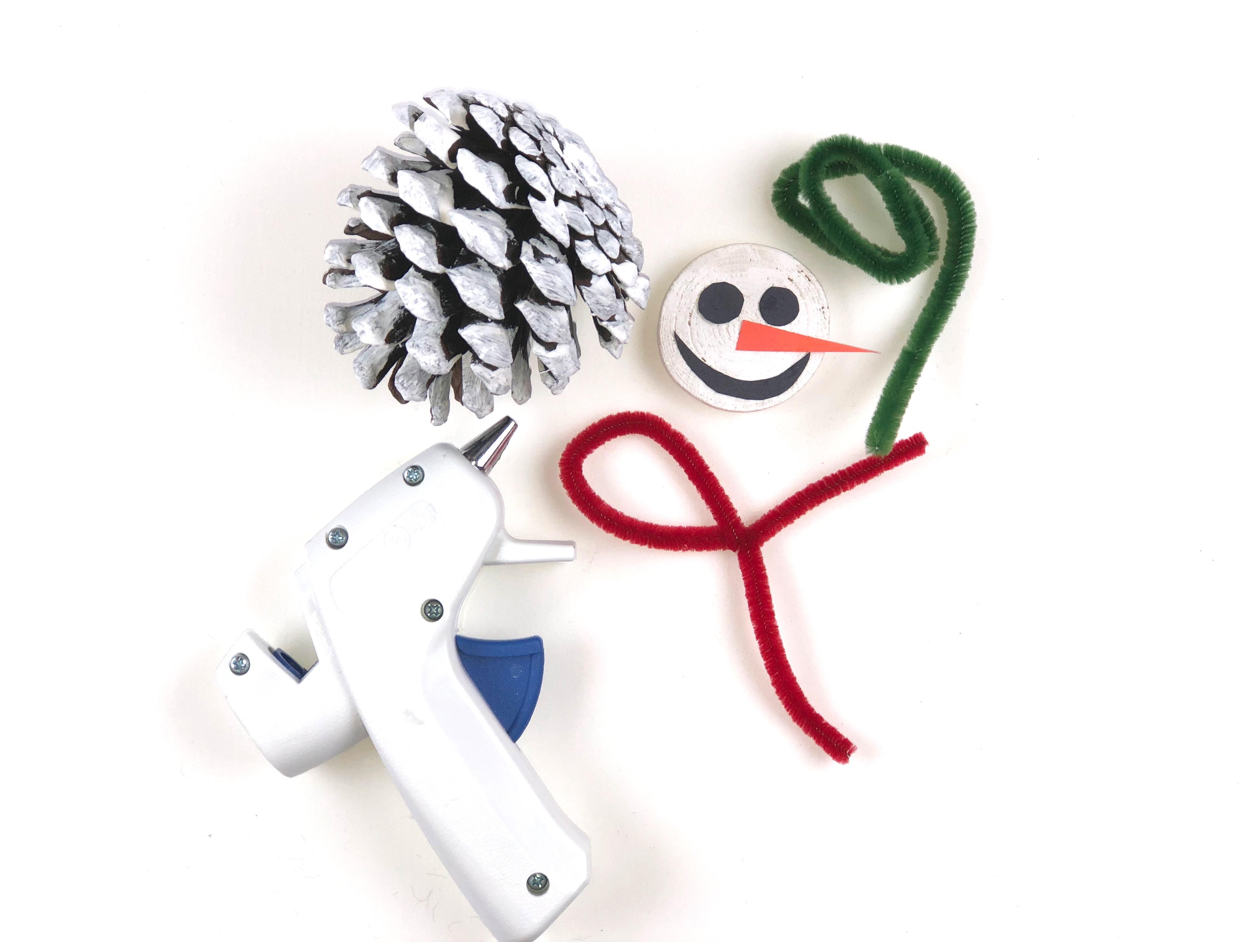 Pine Cone Snowman Craft step 3