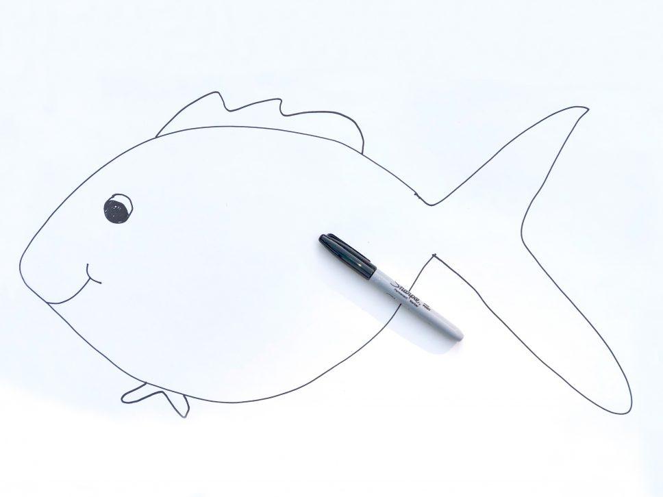 Rainbow Fish Craft step 1